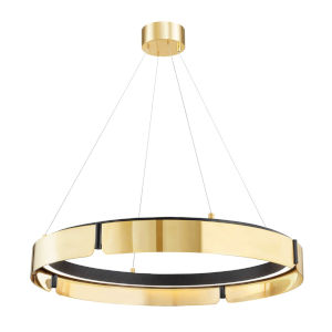 Tribeca Aged Brass Black 33-Inch One-Light LED Chandelier