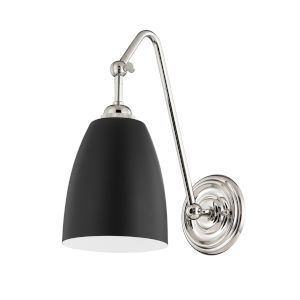 Millwood Polished Nickel and Black One-Light Wall Sconce