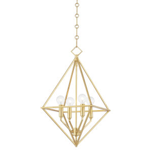 Haines Gold Leaf 17-Inch Four-Light Pendant