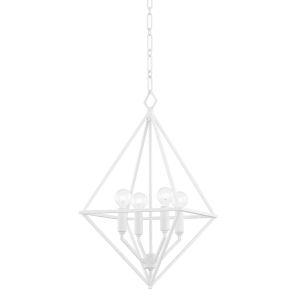 Haines White Plaster 17-Inch Four-Light Pendant