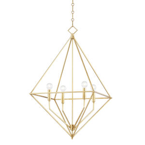 Haines Gold Leaf 24-Inch Four-Light Pendant
