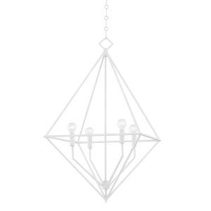 Haines White Plaster 24-Inch Four-Light Pendant