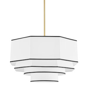 Riverdale Aged Brass Four-Light Pendant with White Belgian Linen Shade