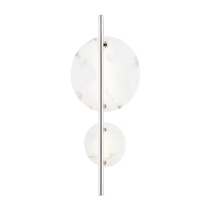 Croft Polished Nickel One-Light LED Wall Sconce with Alabaster Shade