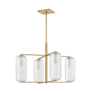 Pebble Aged Brass Four-Light Chandelier