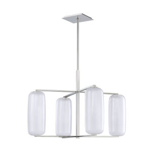 Pebble Polished Nickel Four-Light Chandelier