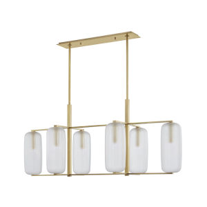 Pebble Aged Brass Six-Light Chandelier