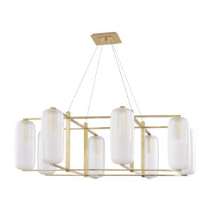 Pebble Aged Brass Eight-Light Chandelier