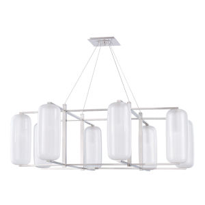 Pebble Polished Nickel Eight-Light Chandelier