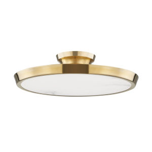 Draper Aged Brass One-Light LED Flush Mount with Alabaster Shade