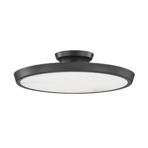 Draper Old Bronze One-Light LED Flush Mount with Alabaster Shade