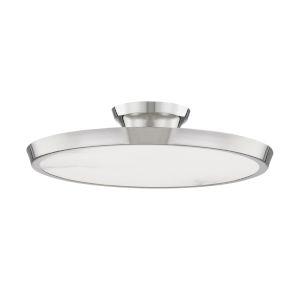 Draper Polished Nickel One-Light LED Flush Mount with Alabaster Shade