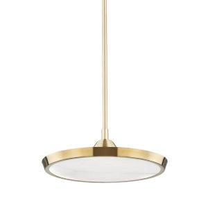 Draper Aged Brass One-Light LED Mini Pendant with Alabaster Shade