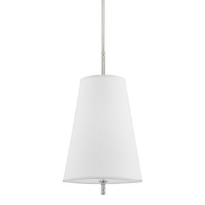 Bowery Polished Nickel One-Light Pendant with White Belgian Linen Shade