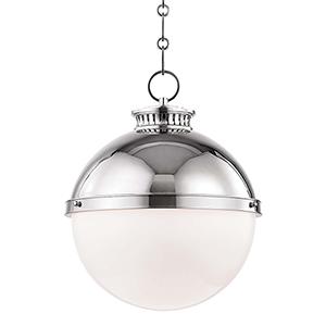 Latham Polished Nickel One-Light Pendant