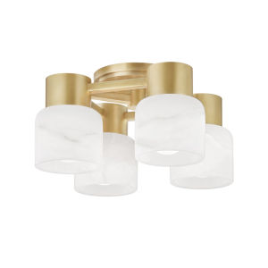 Centerport Aged Brass Four-Light LED Wall Sconce with Alabaster Shade