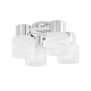 Centerport Polished Nickel Four-Light LED Wall Sconce with Alabaster Shade
