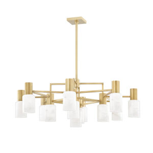 Centerport Aged Brass 12-Light LED Chandelier with Alabaster Shade
