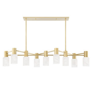 Centerport Aged Brass Nine-Light LED Pendant with Alabaster Shade