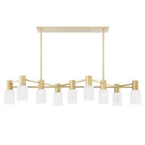 Centerport Aged Brass Nine-Light LED Pendant with Alabaster Shade