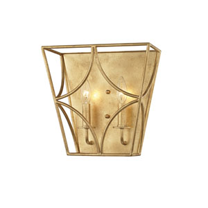 Green Gold Leaf Two-Light Wall Sconce