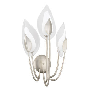 Blossom Silver Three-Light Wall Sconce with Clear Glass