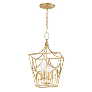 Green Gold Leaf Six-Inch Four-Light Pendant