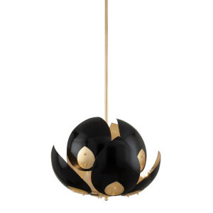 Lotus Gold Leaf and Black Eight-Light Pendant