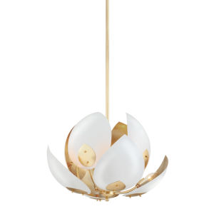 Lotus Gold Leaf and White Eight-Light Pendant