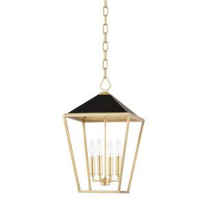 Paxton Gold Leaf Black 12-Inch Four-Light Pendant