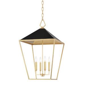 Paxton Gold Leaf Black 18-Inch Four-Light Pendant
