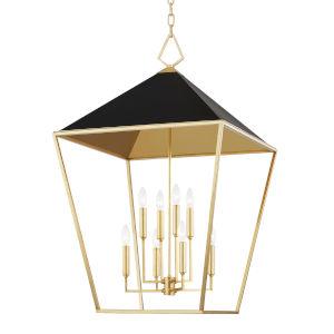 Paxton Gold Leaf Black Eight-Light Pendant
