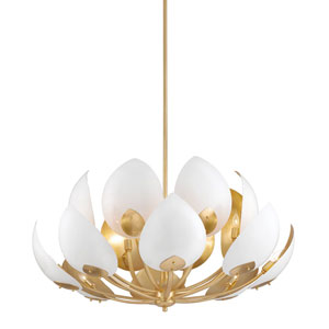 Lotus Gold Leaf White 16-Light Chandelier