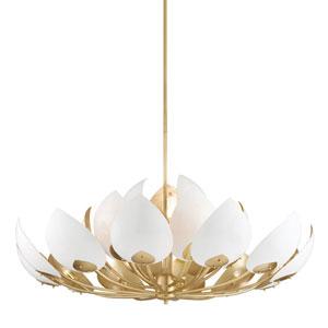 Lotus Gold Leaf White 21-Light Chandelier