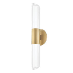Rowe Aged Brass Two-Light LED Wall Sconce with Clear K9 Crystal Shade