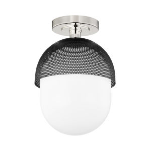 Nyack Polished Nickel Black One-Light Semi-Flush Mount