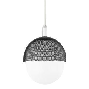Nyack Polished Nickel Black 14-Inch One-Light Pendant