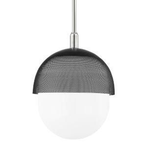 Nyack Polished Nickel Black 19-Inch One-Light Pendant