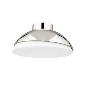 Morse Polished Nickel and White Two-Light Flush Mount