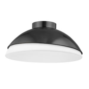 Morse Old Bronze and White Three-Light Flush Mount