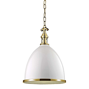 Viceroy White and Aged Brass One-Light Pendant