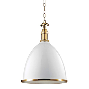 Viceroy White and Aged Brass Pendant