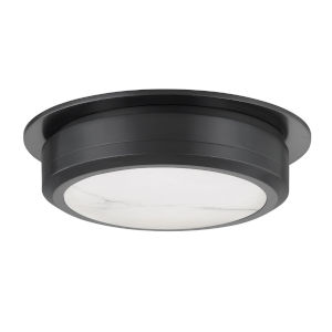 Greenport Old Bronze and White 14-Inch LED Flush Mount