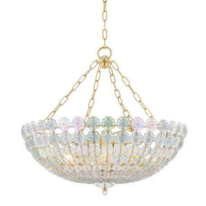 Floral Park Aged Brass Eight-Light Pendant