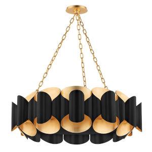 Banks Gold and Black 12-Light Chandelier