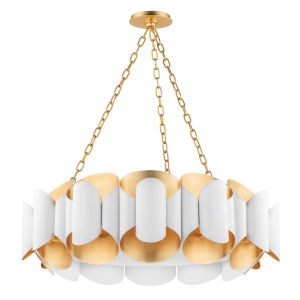 Banks Gold and White 12-Light Chandelier