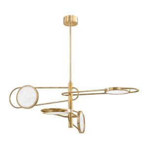 Valeri Aged Brass Four-Light LED Pendant