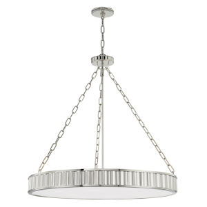 Middlebury Polished Nickel Eight-Light Chandelier with Opal Glass