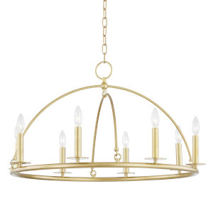 Howell Aged Brass Eight-Light Chandelier