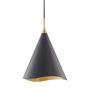 Martini Gold Leaf and Black 13-Inch One-Light Pendant